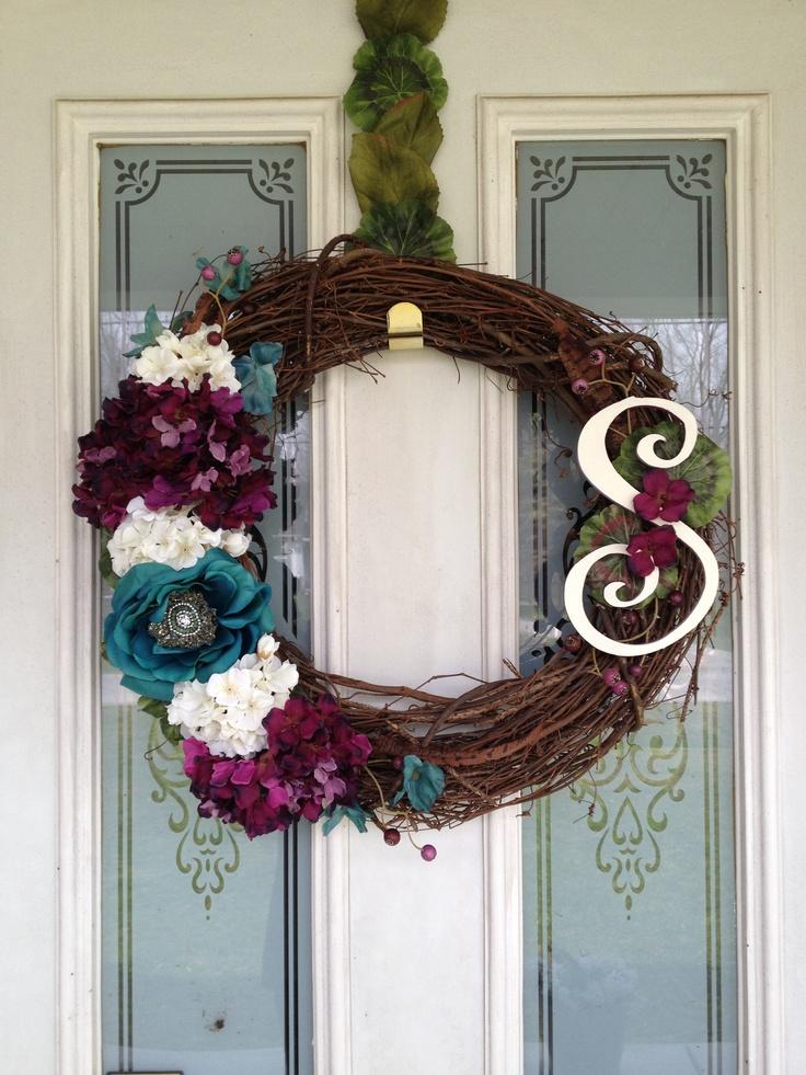 The DIY wreath I made for my front door :) love!