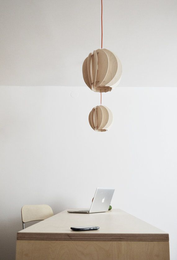 wooden pendant lamp PAPOULA, handmade, made by SEAN