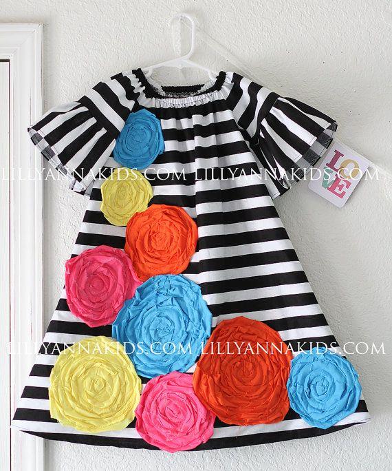 Lilly Anna Kids Funky Rosette Dress on Etsy, $28.00