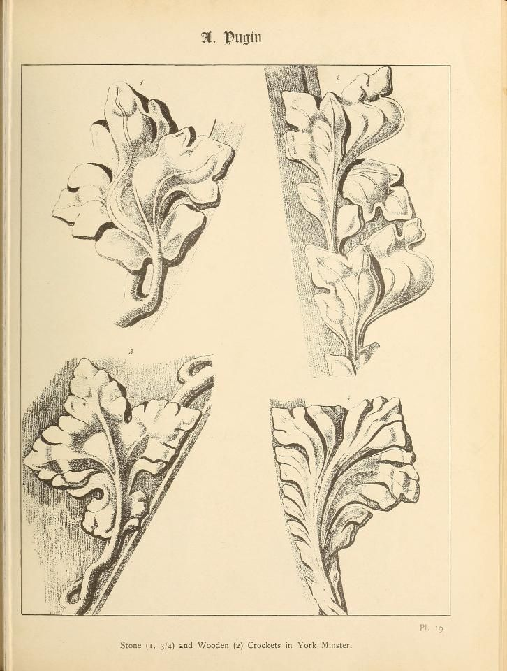 1900 - Gothic ornaments, selected from various ancient buildings in England and France : exhibiting numerous specimens of every description of decorative detail, from the XIth. to the beginning of the XVIth. cent. -  by Pugin, Augustus