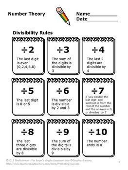 Divisibility Rules Worksheets { Multiples and... by Promoting Success | Teachers Pay Teachers