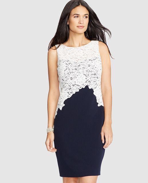 Vestido bicolor de mujer Lauren Ralph Lauren con cuerpo de crochet