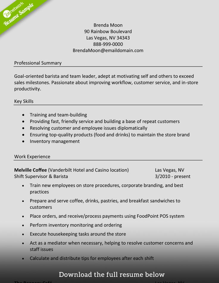 baristaresumemanagerlevel Resume skills, Good resume