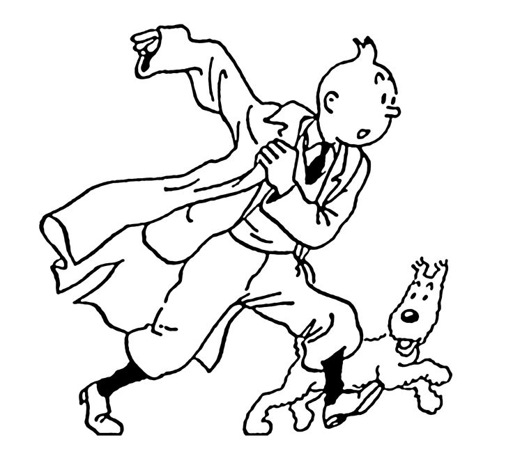 Tintin With Dog Friend Coloring Pages For Kids Printable Tintin Coloring Pages