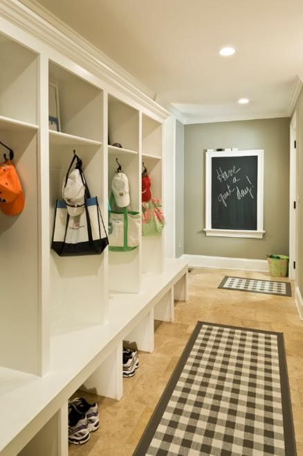 Mudroom. Place boot tray under each area for shoe storage and baskets up top