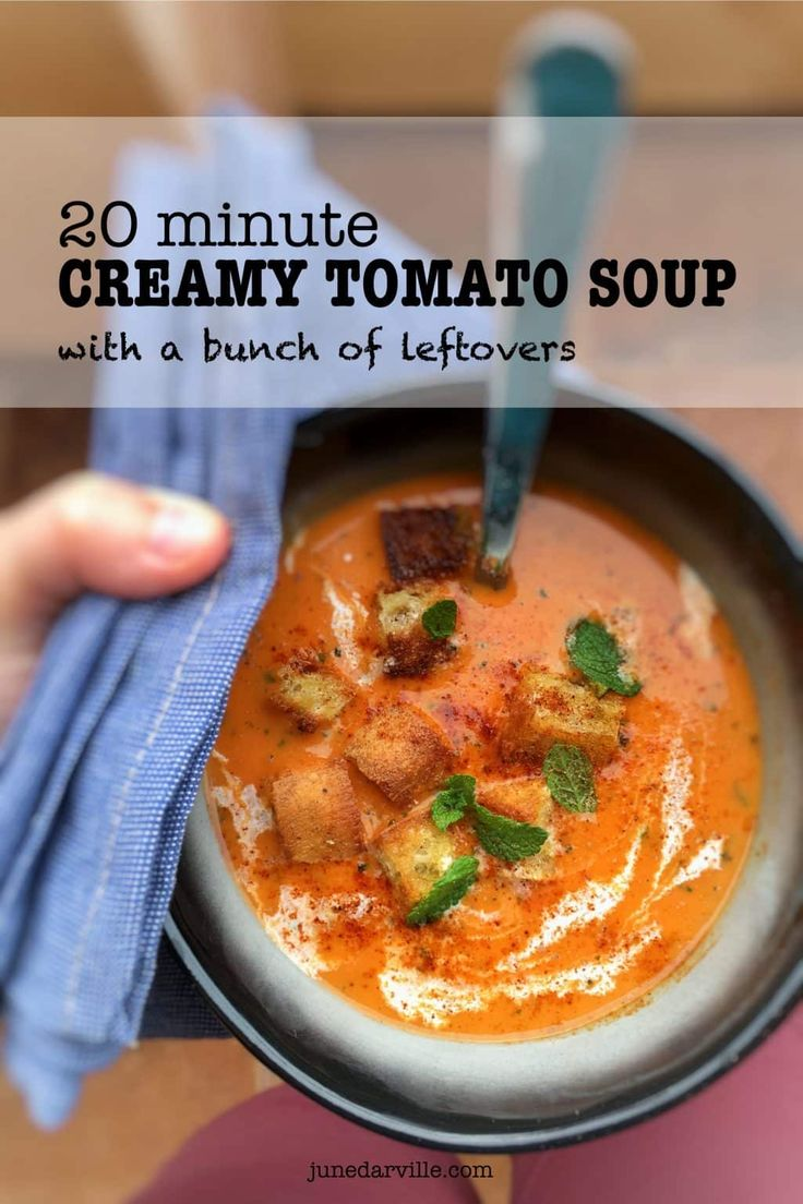 20 Minute Quick Tomato Soup with Fresh Tomatoes