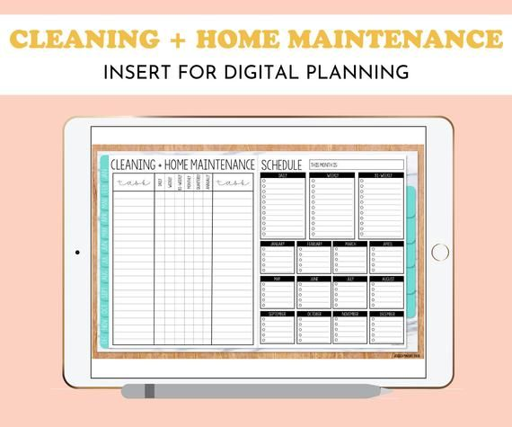 Cleaning And Home Maintenance Schedule Insert For Digital Etsy In 2021 Home Maintenance Schedule Home Maintenance Diy Planner Notebook