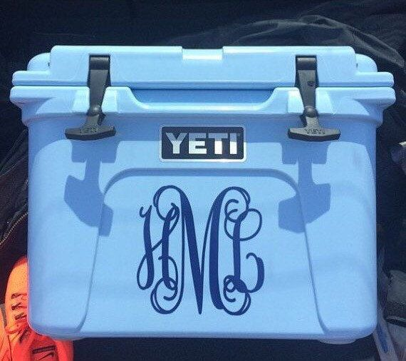 This listing is for one vinyl decal, style of your choice for a Yeti Cooler. ***Please include the following information in the Notes to Seller section at check out:  1. Monogram (first, LAST, middle) 2. Font Style 3. Color   YETI SIZING SUGGESTIONS  - Roadie 20 = 7 - Tundra 35 = 8 - Tundra 45 = 10 - Tundra 50 = 9   All decals are made with a high-quality vinyl that has a glossy finish and is for indoor or outdoor use. This vinyl is expected to last up to 6 years. Dependin...