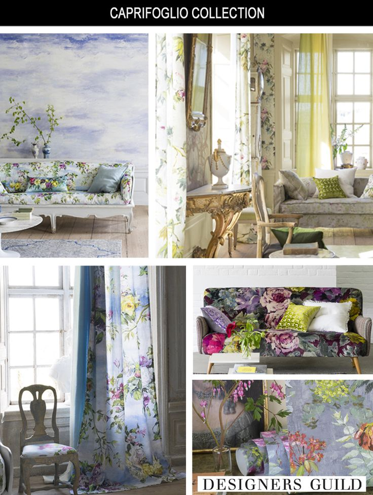 DESIGNERS GUILD CAPRIFOGLIO COLLECTION An unsentimental floral collection, graceful and full of discovery. Hand-painted flowers are digitally printed to capture every stroke of the painter's hand. Set against subtle frescos, the distressed plaster of a walled garden, or liberating open skies.