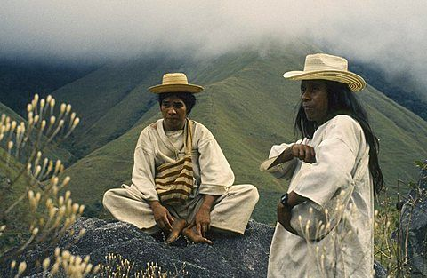COLOMBIA People Kogi Ramonil and Juancho two Kogi priests from the Sierra de Santa Marta against a backdrop of misty green hills Named Ramonil and Juancho