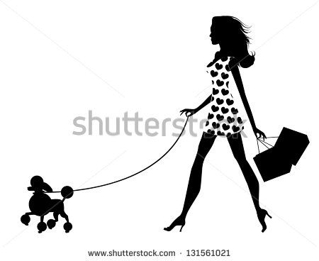 Woman Walking Dog Silhouette Eps 8 Vector Grouped For Easy Editing