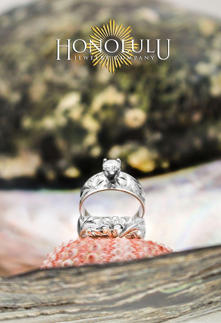 Custom Hawaiian Plumeria Wedding Ring Set