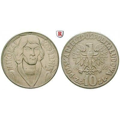 Polen, Volksrepublik, 10 Zlotych 1965, f.st: Volksrepublik 1952-1989. Kupfer-Nickel-10 Zlotych 1965. Nikolaus Kopernikus. Parch.… #coins