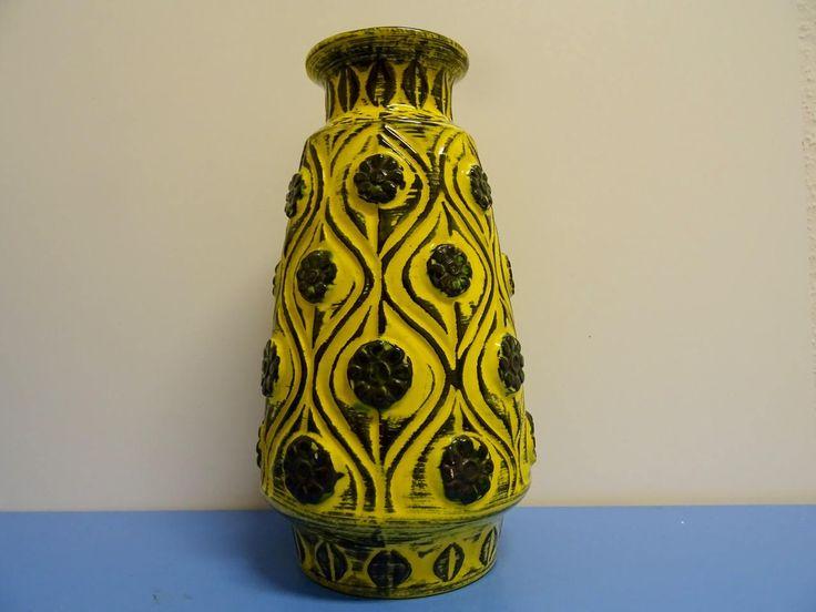 Bay Keramik  grosse Vase Keramik Keramikvase in gelb 60er 70er era Bodo Mans selten