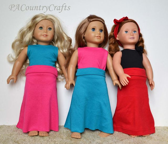 PACountryCrafts: Easy Doll Maxi Skirt Tutorial. She also has other, fancier doll dress patterns.