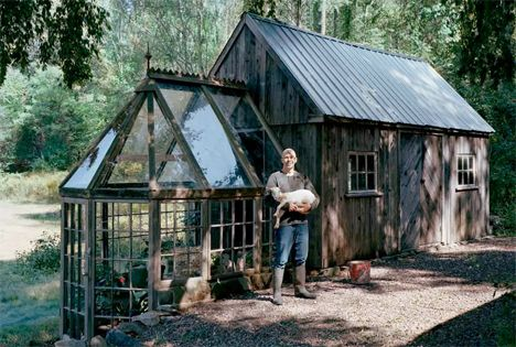 This rustic shed with a beautiful attached greenhouse is made from wood salvaged during the renovation of a car dealership. Antique windows ...