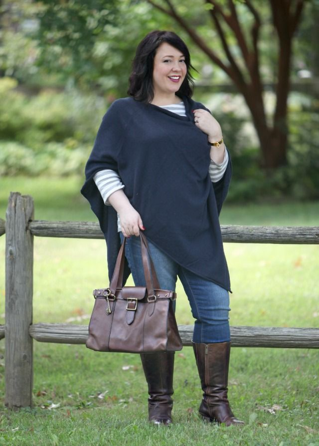 Wardrobe Oxygen What I Wore: cashmere poncho from @anntaylor, @gap  jeans, tall #widecalfboots from @duoboots @fossil bag #momstyle