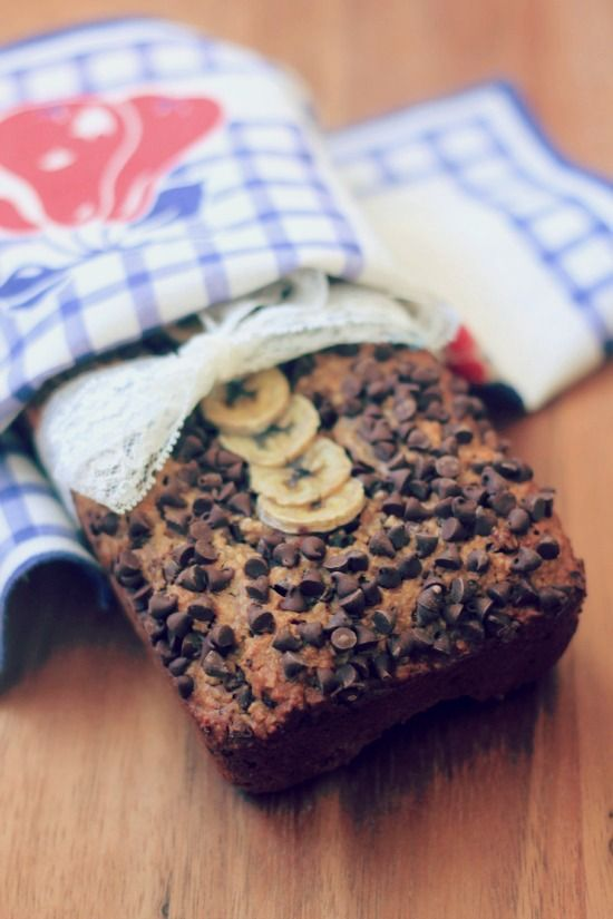Oatmeal Peanut Butter Chocolate Chip Banana Bread - Vegan & Gluten Free