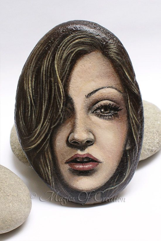 Realistic acrylic painting on stone, unique painted rock by Magics of Creation on Etsy