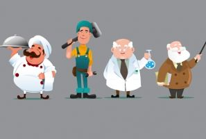 chef with workers and teachers vector