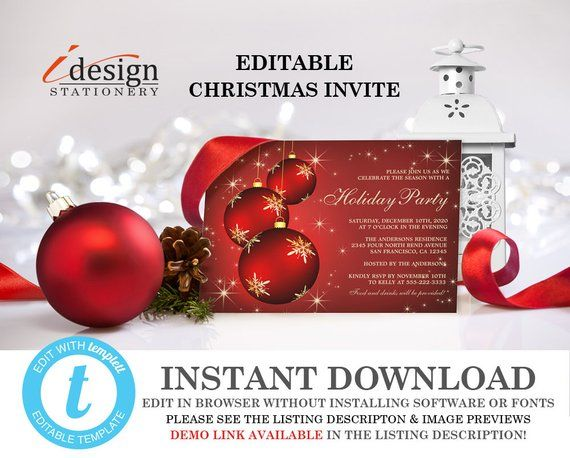 Holiday Party Invitations Instant Download Elegant Christmas Invitation Editab Holiday Party Invitations Elegant Christmas Invitation Christmas Invitations