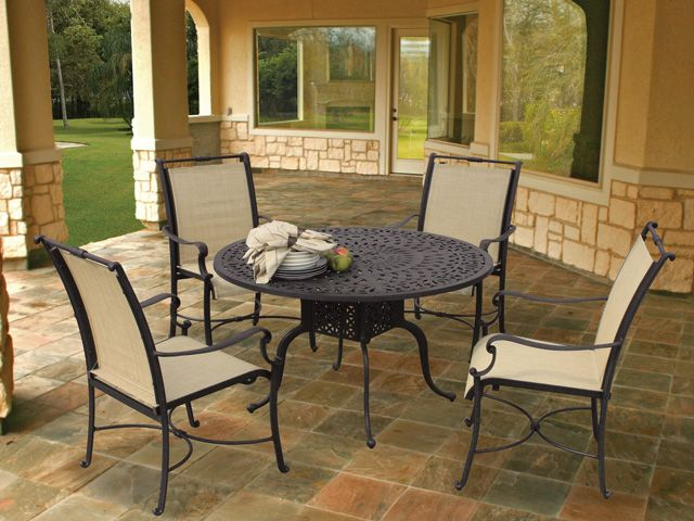 Royal Terrace Avignon Sling 5 Pc. Aluminum Dining Set Is Elegantly  Ornamented With The Breeze