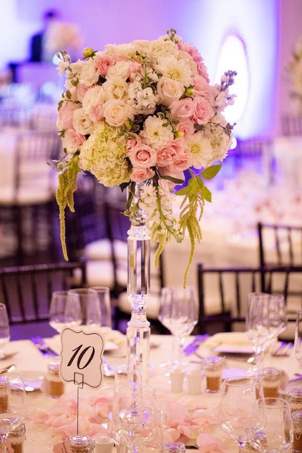 Gorgeous #wedding flower centerpieces in blush & ivory! Love the dahlias and hydrangeas.   © Jane Z Photography  http://stylesizzle.com/bridal/wedding-week-community-florist
