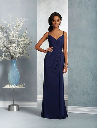 Alfred Angelo Style 7415: floor length bridesmaid dress with sweetheart neckline, spaghetti straps, and asymmetric draped overlay