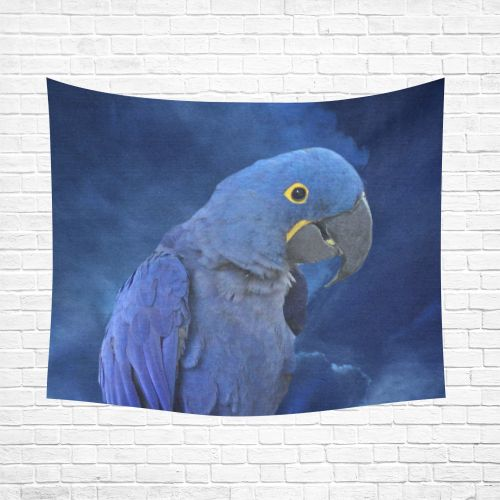 """Hyacinth Macaw Cotton Linen Wall Tapestry 60""""x 51"""""""