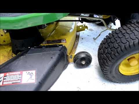 HOW TO: Install the deck on John Deere X300 and X500 series Lawn Tractors - YouTube
