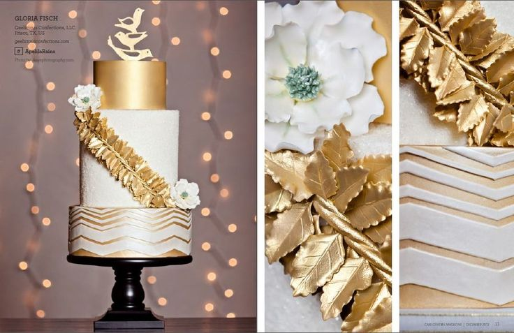 Top Tier - Fondant and airbrushed in Gold edible paint    Middle Tier - Fondant and cover with crystalized sugar.  Gold leaves we individually made with gumpaste then airbrushed gold.  The flowers where hand made with and used petal dust to color.    Bottom Tier -  Fondant airbrushed in gold with fondant