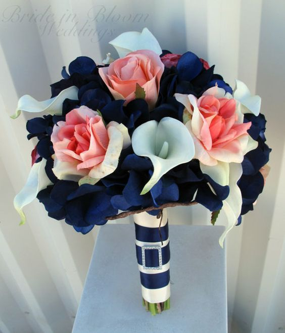 Wedding bouquet coral navy white calla / http://www.deerpearlflowers.com/navy-blue-and-white-wedding-ideas/2/