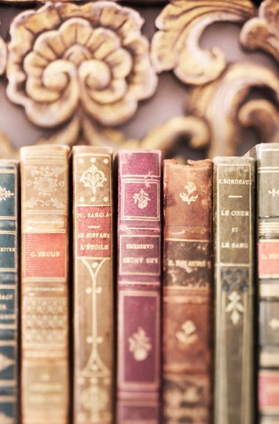 Paris Book Photography - Vintage French Leather Books