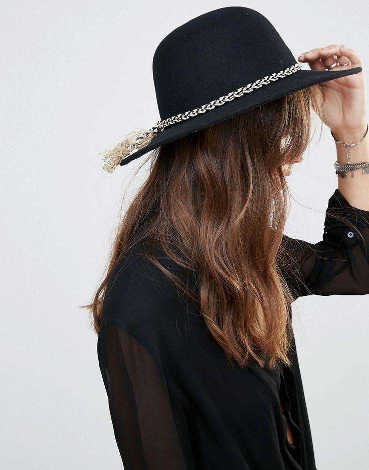 Image 1 - Brixton - Chapeau en feutre à large bord avec bande ornée de pampilles - Noir