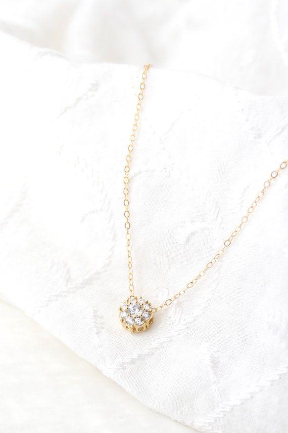 Gold Solitär Collier Halskette Zirkonia CZ von powderandjade