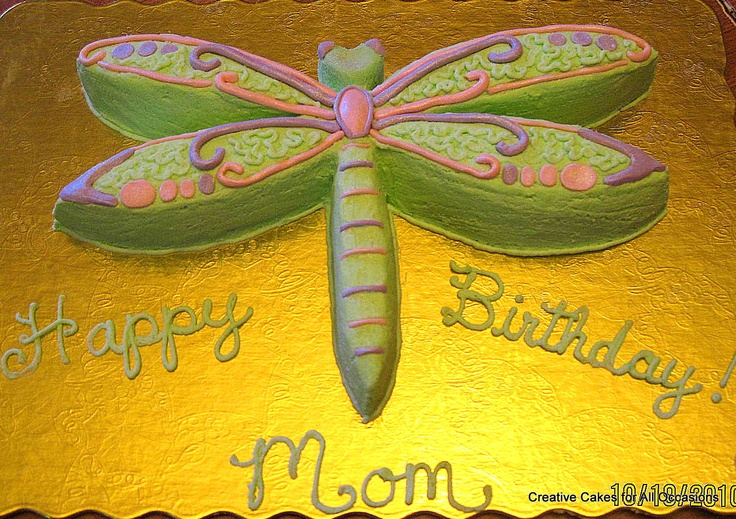 Sculptured Dragonfly Cake - Yellow cake with butter cream icing. servings 6-8. Accent was done with MMF.