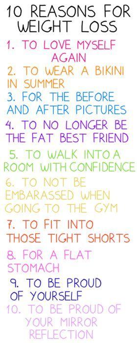 10 λόγοι για να αδυνατίσουμε. Χρήσιμη λίστα για να κολλήσουμε στο ψυγείο μας και να μας κρατάει κοντά στους στόχους μας.