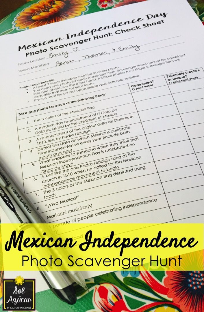 Mexican Independence Photo Scavenger Hunt for Middle & High School - 100% in English - By Sol Azúcar
