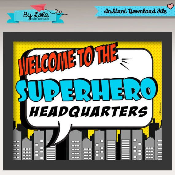 Instant Download - Pop Art Comics Superhero Birthday Party Welcome Sign - Super hero comics pop art Centerpiece door sign by ByLolaPrintables