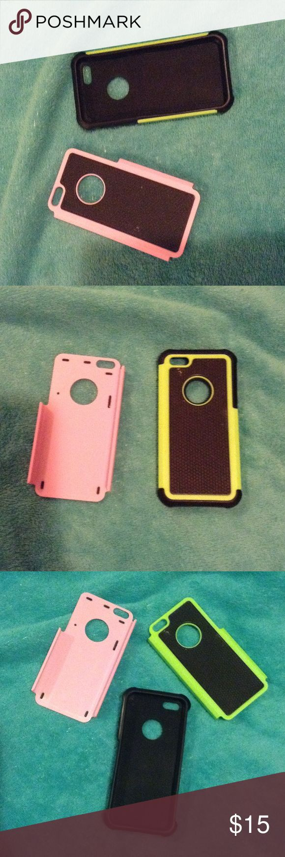 3 piece IPhone 5/5s case set a 3 piece iPhone 5s/5 case, a pink & green cover case with a black inside case, no damage & good coverage apple Other