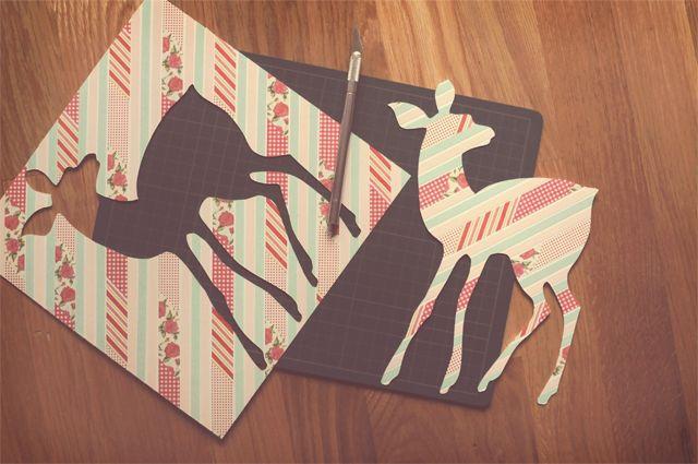 DIY: washi tape silhouette artDiy Ideas, Wall Art, Silhouette Art, Crafts Ideas, Washi Tape Silhouettes, Silhouettes Art, Diy Art, Diy Washi, Diy Silhouettes