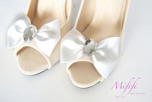 Białe Kokardy z Kamieniem -klipsy do butów Mififi - Mififi-klipsy-do-butow - Klipsy do butów