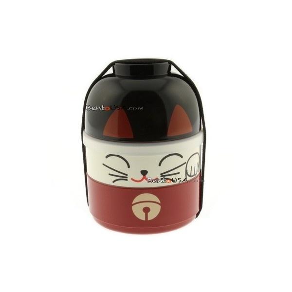Japanese Bento Box 2 tier Lunch Box Kokeshi Beckoning Lucky Cat Set