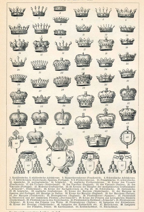 1894 German Antique Engraving of 51 Crowns