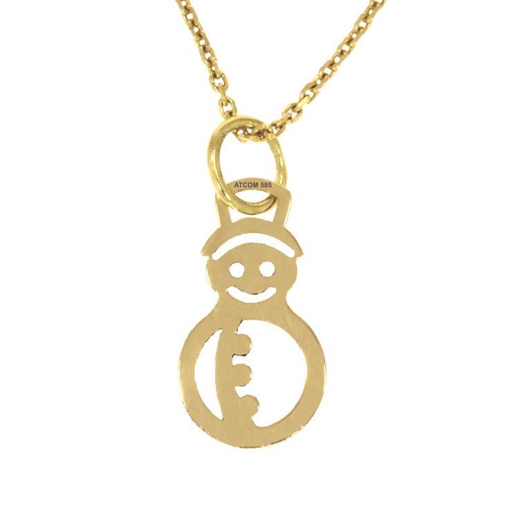 Pandantiv cu Om de Zapada modelat din aur galben.   Medalionul poate fi creat si din aur roz, alb sau din argint.