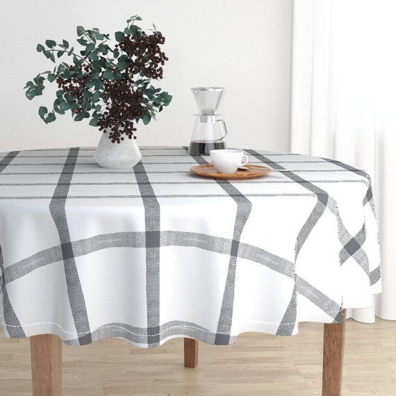 Plaid Table Runner Gray White Linen Check Buffalo Plaid by jenlats Tartan  Grid Check Lines  Cotton Sateen Table Runner by Spoonflower