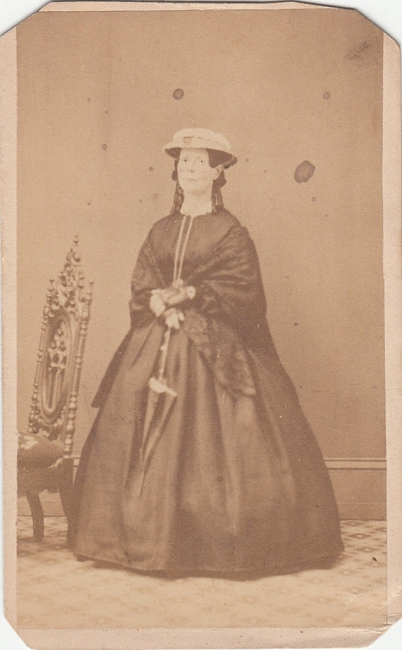 CDV Civil War Lady Day Dress Shawl