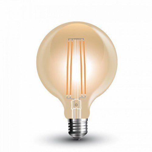 LED lámpa , égő , izzószálas hatás , gömb , E27 foglalat , G95 , 7 Watt , borostyán sárga , meleg fehér , vintage