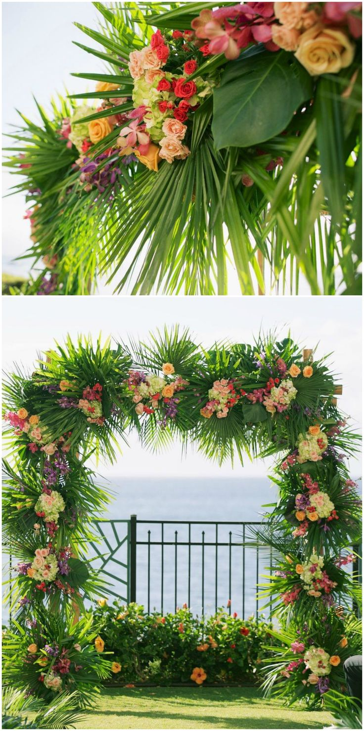 Ceremony arch, palm fronds, colorful flowers, outdoor ceremony // Anna Kim Photography
