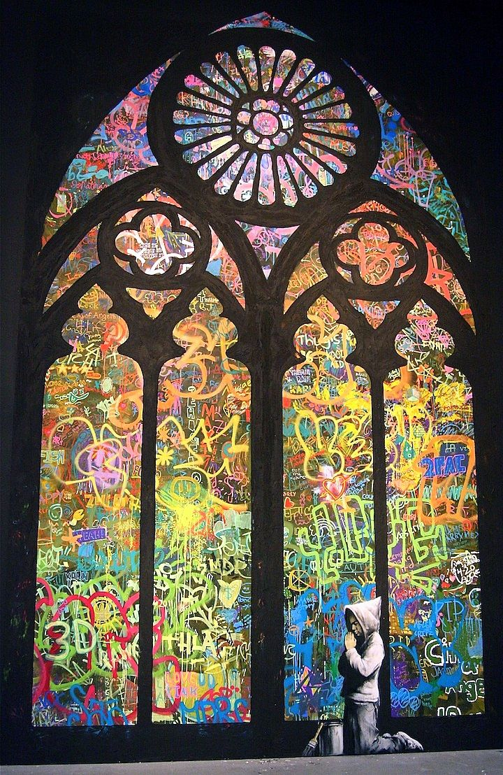 A banksy stained glass cathedral window banksy for Stained glass window church